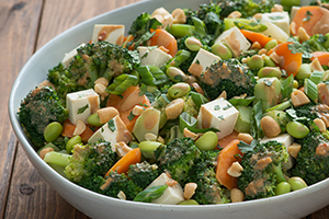 Asian Broccoli Salad with Tofu and Peanut Dressing