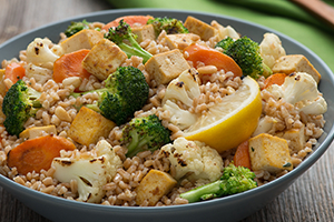 Farro Salad with Roasted Cauliflower, Broccoli and Tofu