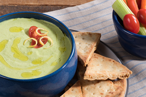 Creamy Pea and Pesto Dip with Crackers and Crudités