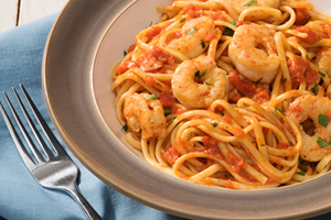 Spicy Shrimp and Roasted Red Pepper Pasta