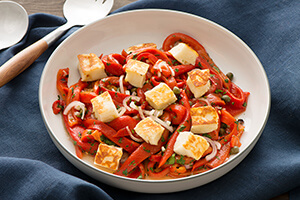 Halloumi with Marinated Roasted Red Pepper and Caper Salad